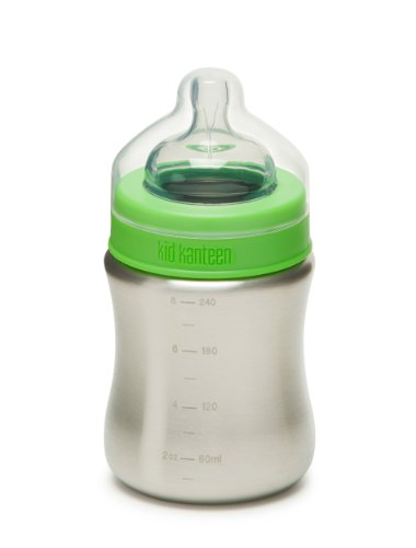 Klean Kanteen Kid Kanteen Stainless Steel Baby Bottle with Medium-Flow Silicone Nipple