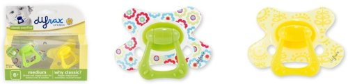 Difrax Classic Pacifier Medium 6+months Yellow and Flowers- Set of 2