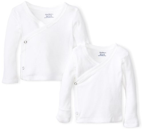 Gerber Newborn Long Sleeve Side Snap Mitten Cuffs Shirt