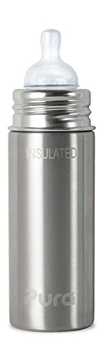 Pura Kiki Stainless Steel Insulated Infant Bottle, Natural