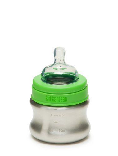 Klean Kid Kanteen Stainless Steel Baby Bottle with Slow Flow Silicone Nipple