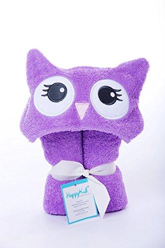 Happy Kid Organics Infant Hooded Towel (Purple Owl)