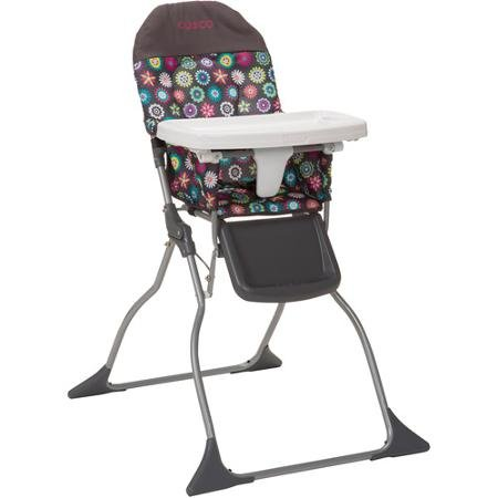 Cosco Simple Flat Fold High Baby Chair with Easy Wipe Designable Seat, Full Size, 3-position Adjustable Tray, Bloom