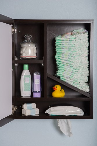 Windel, Award Winning 3-in-one wall-mounted cabinet, picture frame and diaperstacker/wipes dispenser