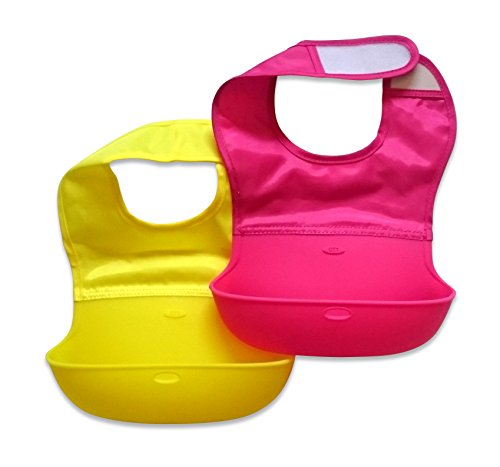 2 x BambinoCo Roll Up Silicone Bibs With Comfortable Fabric Top Cute Baby Bibs - Hot Pink / Yellow
