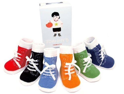 Trumpette Johnny's Sneaker 6 Pair Socks Set, Brights Assorted, 0-12 Months