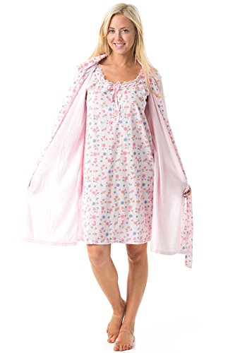 Casual Nights Women's 2 Piece Robe and Nightgown Set Floral Print With Lace Trim - Pink - Large