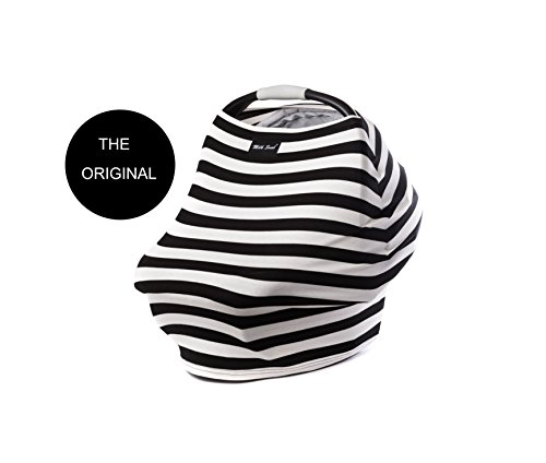 "Milk Snob Infant Car Seat Cover and Nursing Cover Multi-Use 360° Coverage Breathable Stretchy ""Black and Ivory Stripes"" THE ORIGINAL MILK SNOB"