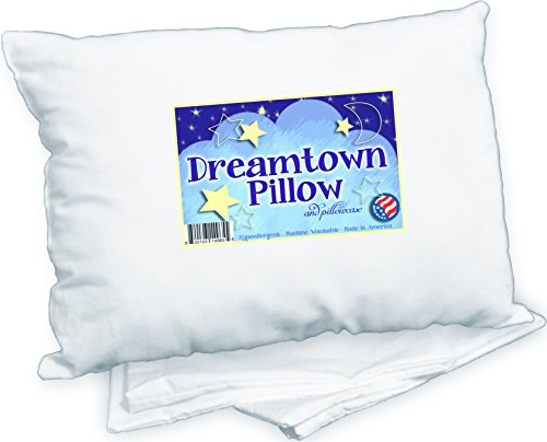 Dreamtown Kids Toddler Pillow With Pillowcase, White, 14x19