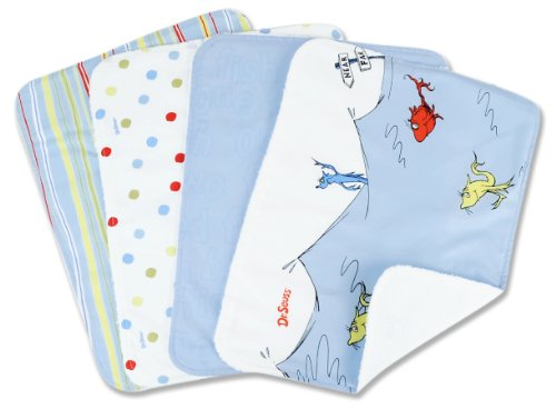 Trend Lab Dr. Seuss 4 Piece Burp Cloth Set, One Fish Two Fish