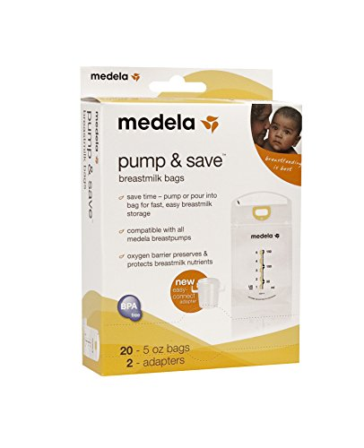 Medela Pump & Save Breastmilk Bags with Easy-Connect Adapter
