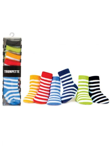 Trumpette Bright Striped Baby Socks- Unisex- 6 Pairs- Multi-colored - 0-12 Mths