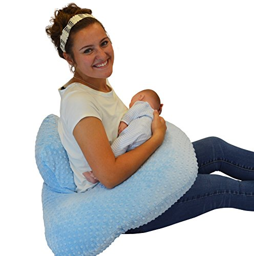 The 4 in 1 One Z BLUE Nursing Pillow w/ AMAZING BACK SUPPORT- BLUE COLOR COVER