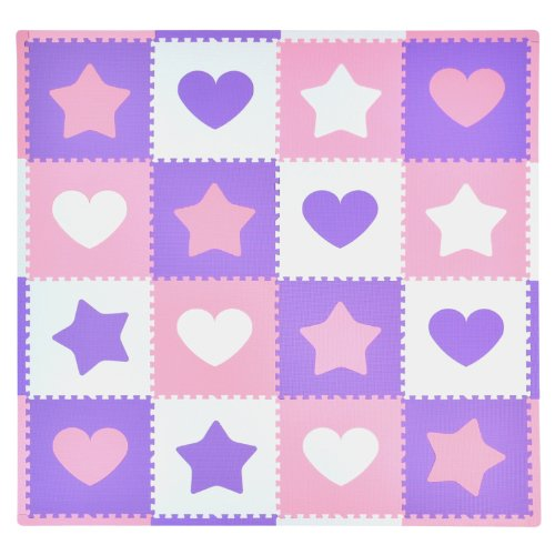 Tadpoles 16 Sq Ft Hearts and Stars Playmat Set