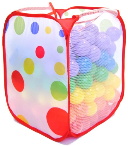 Ball Pit Balls - Phthalate Free and Crush Proof with Polka Dot Hamper: