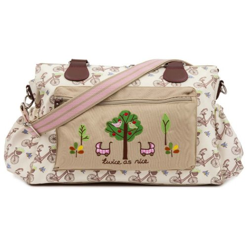 In the Mews Pink Lining Twins Diaper Bag