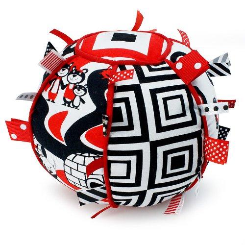 Ribbon Tag Ball - Black, White & Red