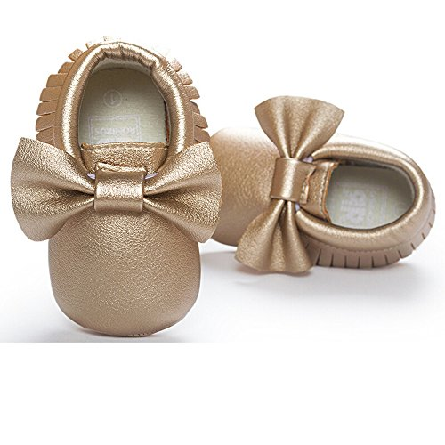 ROMIRUS Baby Leather Bowknot Tassel Fringe Moccasin Shoes for Infant Toddler(11cm(4.3inch), Gold)