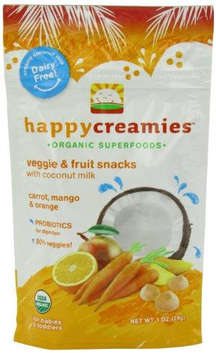 Happy Creamies Organic Veggie and Fruit Snacks with Coconut Milk
