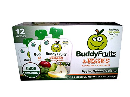 Buddy Fruits & Veggies Squeezable Fruit Pouches- Apple, Spinach and Pear