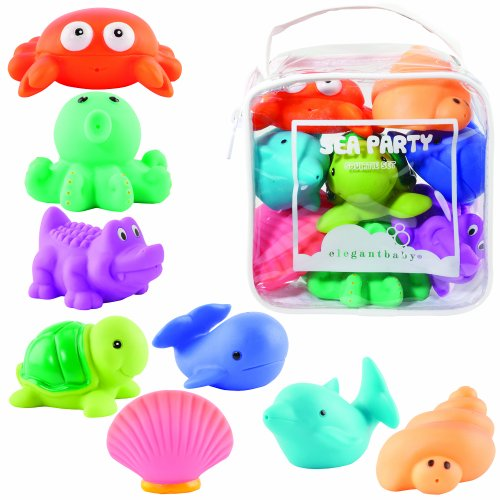 Elegant Baby 8 Piece Bath Squirties Gift Set in Vinyl Zip Bag, Sea