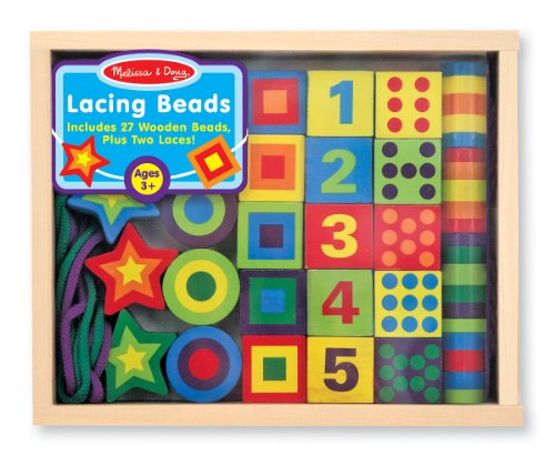 Melissa & Doug Deluxe Wooden Lacing Beads in a Box