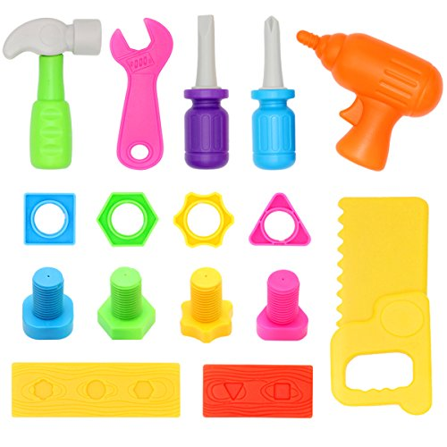 Kids Toy Tools Set Pretend Play 16-Piece for Little Hands,Mumu Sugar