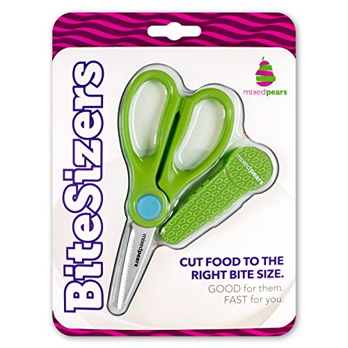 BiteSizers Portable Food Scissors with Cover - Certified Food-Safe by NSF, Stainless Steel, Cuts Baby Food (Green Seeds)