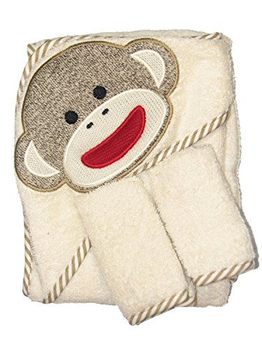 Baby Starters Sock Monkey Towel & Washcloth Set in Cream