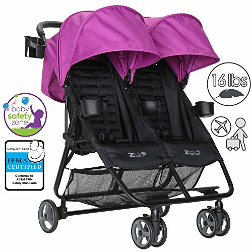 ZOE XL2 BEST Double Xtra Lightweight Twin Travel & Everyday Umbrella Stroller System (Eloise Plum)