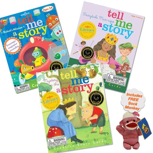 Tell Me a Story Collection (Includes Fairytale Mix-Up, Little Robot's Mission and Mystery in the Forest) w/Free Baby Sock Monkey