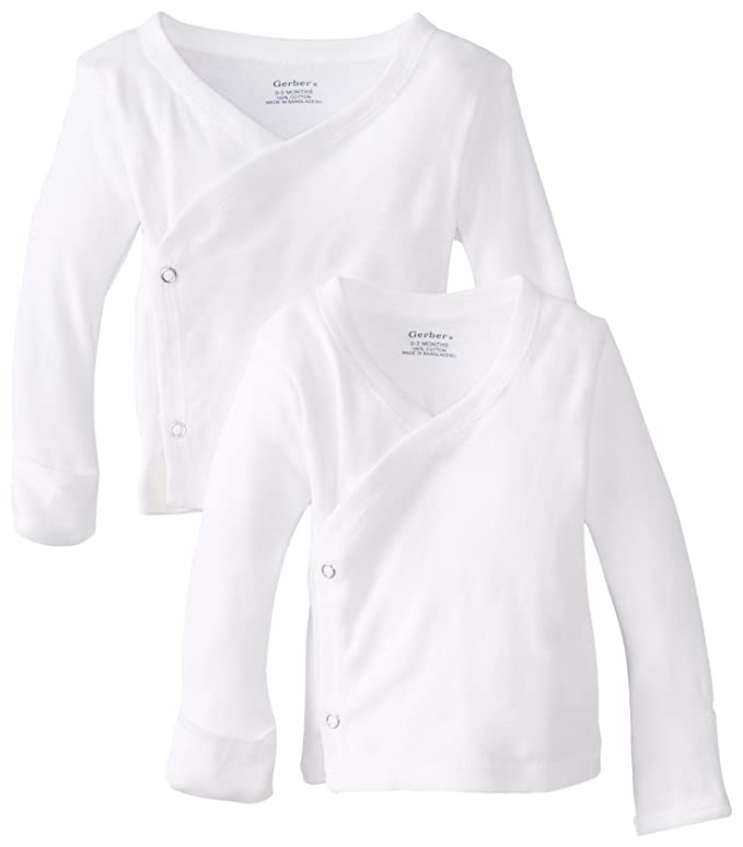 Amazon.com: Gerber Unisex-Baby Newborn 2 Pack Long Sleeve Side Snap Mitten Cuffs Shirt: Infant And Toddler T Shirts: Clothing