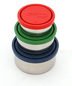 Amazon.com: Kids Konserve Nesting Trio Stainless Steel Containers with Leak-Proof Lids, Navy/Green/Red: Food Savers: Kitchen & Dining