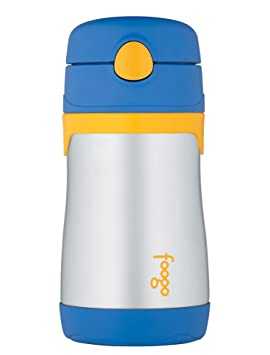 Amazon.com : Thermos FOOGO Phases Stainless Steel Straw Bottle, Blue/Yellow, 10 Ounce : Baby