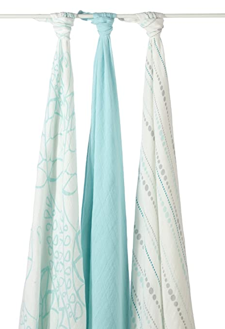 Amazon.com: aden + anais rayon from bamboo fiber muslin swaddle 3-pack, azure: Baby